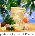 old paper on tropical background 31857651