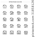 Real estate & house icons set. Line thickness icon 31858126