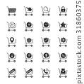 Shopping cart icons on white background 31860375