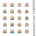 Real Estate & House icons. Color set. Vector icon 31860693
