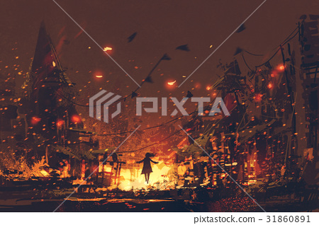 silhouettes of woman on burning village background 31860891