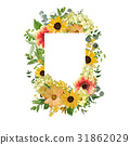 Vector design square card. Yellow sunflower flower 31862029