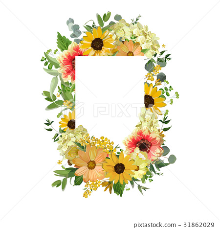 Vector design square card. Yellow sunflower flower 31862029