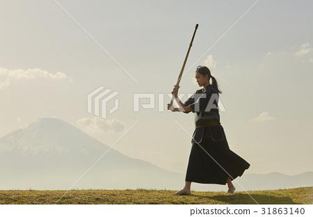 劍道女孩和富士山 31863140