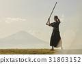 劍道女孩和富士山 31863152