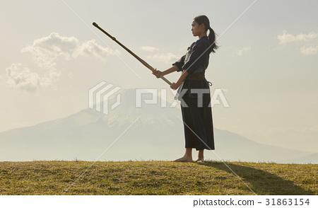 劍道女孩和富士山 31863154