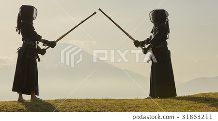 劍道女孩和富士山 31863211