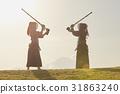 劍道女孩和富士山 31863240