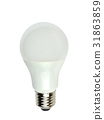 LED light bulb on white 31863859