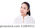 portrait of happy asian woman with scar 31864031