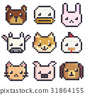 Vector pixel art animals sticker collection 31864155