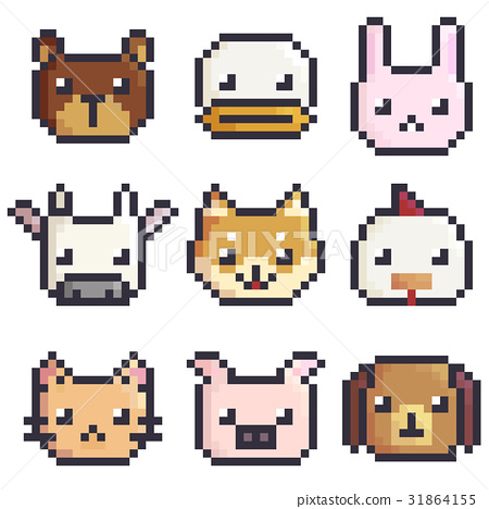 Vector Pixel Art Animals Sticker Collection Stock