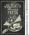 poster with plates of fried and scrambled eggs on 31864834