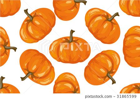 Vegetable pattern. Pumpkin seamless background. 31865599