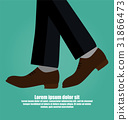 Close-up Of Business Man With Leather Shoe Walking 31866473