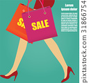 Women Legs With Red High Heels And Shopping 31866754