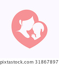Mother holding her baby in heart shaped silhouette 31867897