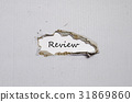 The word review appearing behind torn paper 31869860