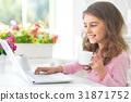 女孩 少女 便携电脑 31871752