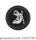 MMA fighters round pictogram or logo. Boxing icon 31872787