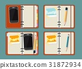notebook, mobile, pencil 31872934
