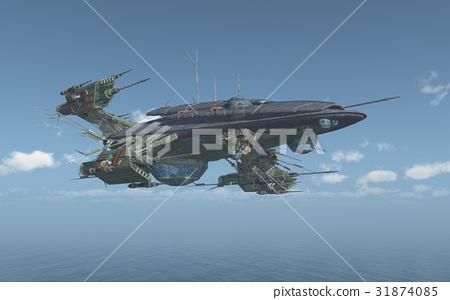 Huge spacecraft over the sea 31874085