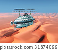 Fantasy airship over a desert landscape 31874099