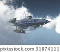 Huge spacecraft between the clouds 31874111