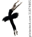 Ballerina dancer dancing woman  isolated silhouett 31874865
