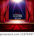 A theater stage with a red curtain and a spotlight 31876487