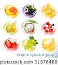 Set of fruit juice splash .  31876489