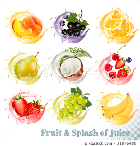 Set of fruit juice splash .  31876489