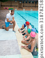Instructor assisting senior swimmers at poolside 31878258
