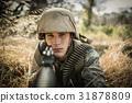 Portrait of military soldier aiming with a rifle 31878809