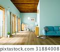 客厅 蓝色 室内装饰 31884008