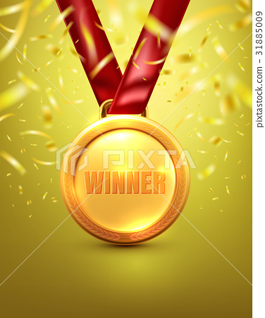 Vector of Gold medal with winner text on gold 31885009