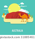 A camel petient creature in the desert Australia  31885461