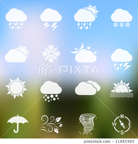 Weather icons on blurred background 31885985