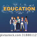 A group of student with education illustration 31886112