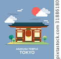 Asakusa temple ancient place in Tokyo illustration 31886180