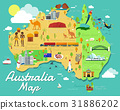 Australia map with colorful landmarks illustration 31886202