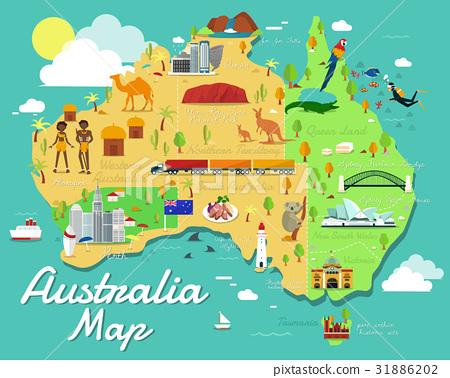 Australia map with colorful landmarks illustration 31886202
