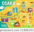 Osaka map with colorful landmarks Japan 31886203