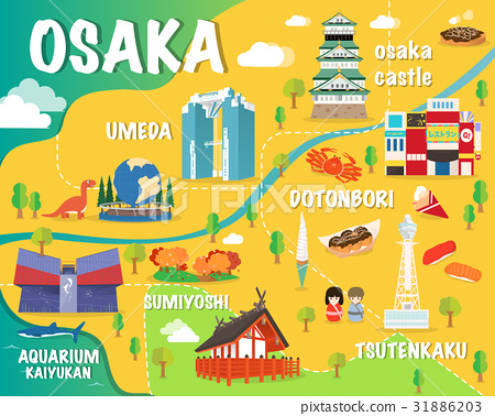 Osaka map with colorful landmarks Japan - Stock Illustration ... on map of hyogo prefecture japan, map of mount aso japan, map of hakata japan, map of shimizu japan, map of tachikawa japan, map of nagasaki japan, map of tokyo japan, map of kyoto japan, map of kurashiki japan, map of mount koya japan, map of volcano islands japan, map of himeji japan, universal studios japan, map of shinjuku japan, map of ise japan, map of okinawa japan, japanese alps on map of japan, map of fukuoka city japan, osaka castle, map of ibaraki japan, map of kuril islands japan, map of kobe japan,