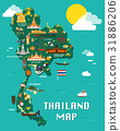 Thailand map with colorful landmarks illustration 31886206