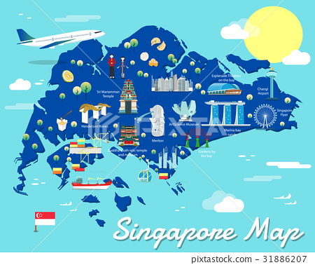 Singapore map with colorful landmarks illustration 31886207