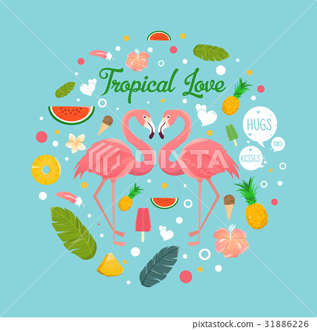 Flamingo couple in summer tropical love 31886226