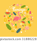 Flamingo with delicious fruits and desserts 31886228