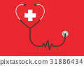 stethoscope in the shape of a heart with pulse  31886434