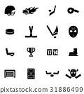 Vector black hockey icon set 31886499